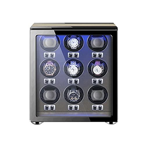 WRNM Cajas Giratorias para Relojes para 9 Automáticos Almohadas Reloj Ajustables para Universal Concha Madera Incorporada Azul Iluminación LED Ultra-Silencio