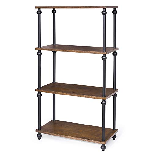 SRIWATANA 4-Shelf Shelving Storage Unit, Metal Storage Shelves Rack, Vintage Bookshelf for Living Room, Bedroom, Kitchen, Dark Walnut