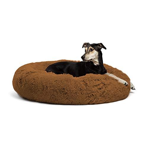 CENY Flauschiges Deluxe-Hundebett, extra-groß Hundesofa, rundes Kissen, wasserdicht, rutschfest, waschbar Katzenbett Donut, Haustierbett für große und extra-große Hunde-110 cm-Braun