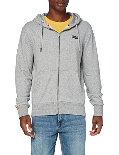 Superdry Herren ORANGE Label Classic Zip Hood Kapuzenpullover, Grau (Silver Glass Feeder 9ST), Large