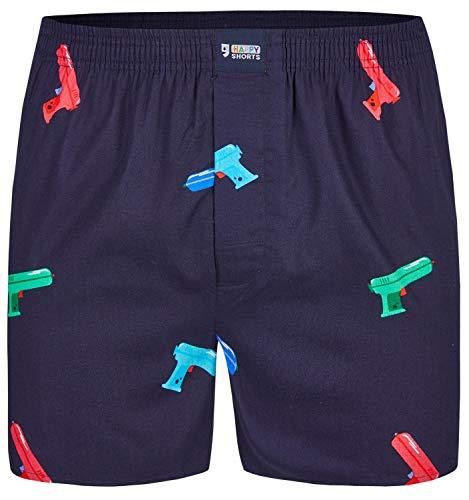 Happy Shorts Herren American Boxer Boxershorts Shorts Webboxer Wasserpistole - Waterpistol, Grösse:XL, Präzise Farbe:Wasserpistolen - Waterpistols
