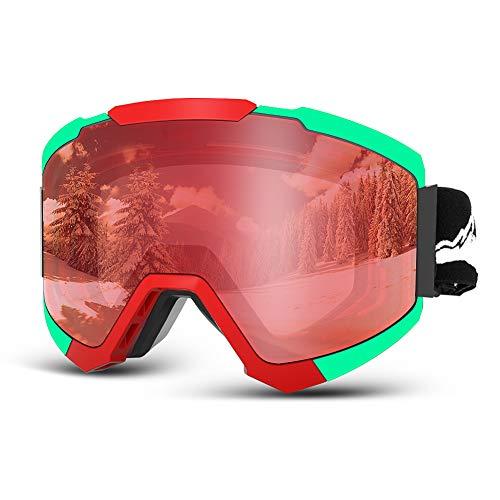 スノーボード スキーゴーグル2019最新版スノーゴーグル 100%UVカット スノボーゴーグル ダブルレンズ 曇り防止 レボミラー球面レンズ 眼鏡対応 弾性フレーム 耐衝撃 スノーボードゴーグル 適用大人男女の登山またはスキー用のスポーツゴーグル (レッド