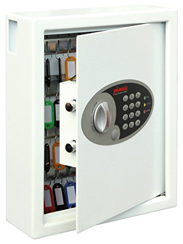 Phoenix Safe Company – KS0032E Phoenix Cygnus Key Deposit Safe - 48 Hooks | Electronic Lock | Key Holder Wall Mounted | Scratch Resistant White Paint Finish | 7.5 Litres | 7.5kg