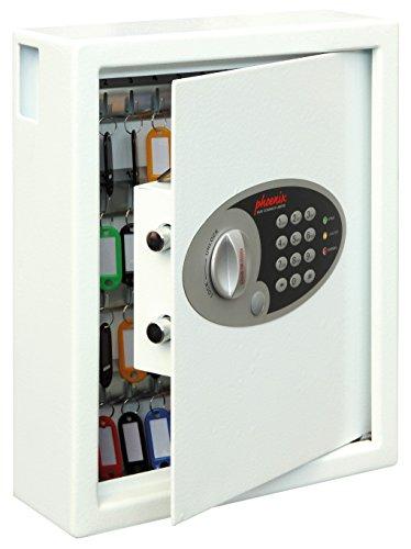 Phoenix Safe Company – KS0032E Phoenix Cygnus Key Deposit Safe - 48 Hooks | Electronic Lock | Key Holder Wall Mounted | Scratch Resistant White Paint Finish | 7.5 Litres | 7.5kg