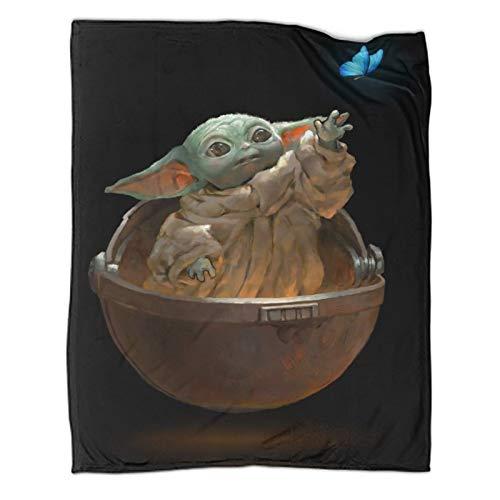 Manta de felpa suave Star Wars The Mandalorian Cute Baby Yoda elegante manta para capas de cualquier cama o sofá de 180 x 230 cm