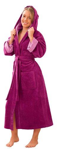 Morgenstern Kinderbademantel Mädchen mit Kapuze Fuchsia lang Kinder-Bademantel Kapuzenbademantel Microfaser Baumwolle Viskose Jugendliche Gr 170 176