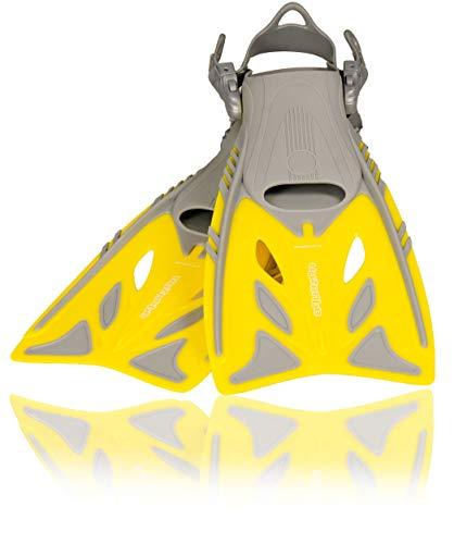 AQUAZON Barracuda verstellbare Flossen, Schnorchelflossen, Taucherflossen, Schwimmflossen, Diving fins für Kinder, Erwachsene zum Schnorcheln und Schwimmen, Farbe:Yellow, Größe:32/37