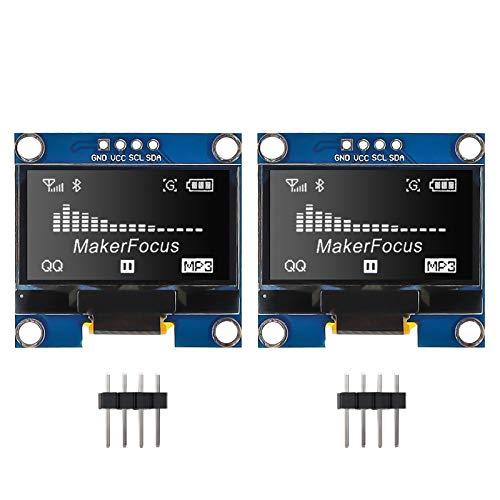 Seamuing OLED Anzeige Modul I2C 128X64 1,3-Zoll-Anzeigemodul SSD1106 Weiß mit Stiften für Arduino UNO R3 STM (2 STÜCKE)
