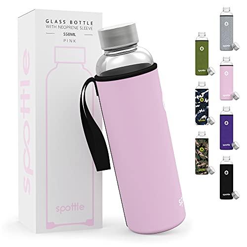 spottle® - Borraccia in Vetro con Custodia in Neoprene in 500ml, 750 ml o 1 litro - Bottiglia dAcqua in Vetro100% Senza BPA