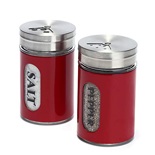 Salt and Pepper Shakers Stainless Steel and Glass Set with Adjustable Pour Holes (Red)