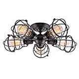Creatgeek 5 Wire Cages Semi-Flush Mount Light Fixture, Industrial Close to Ceiling Lighting, Black Finish Vintage Retro Lamp for Hallway Living Room Kitchen Bedroom