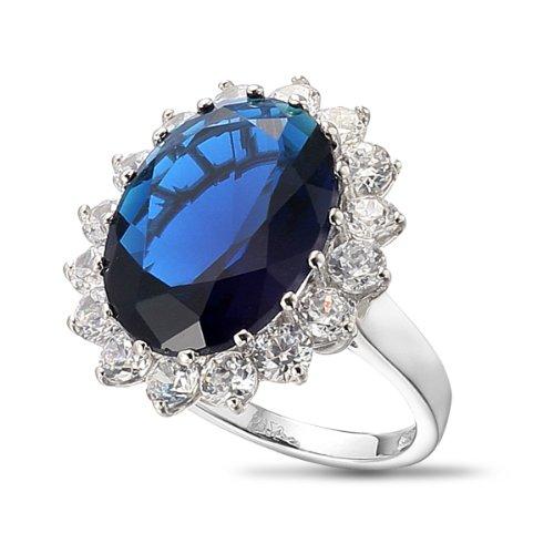 VIKI LYNN Königliche Damenring Prinzessin Diana William Kate Verlobungsring mit 925 Sterling Silber und 10.2CT Synthetisch Saphir Stein RingGröße 54