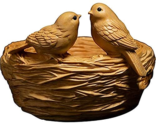 WQQLQX Statue Boxwood Skulptur Tiere Statue Dekoration Handwerk Bird\' s Nest Vogel Sammlung Geschenk Home Skulpturen