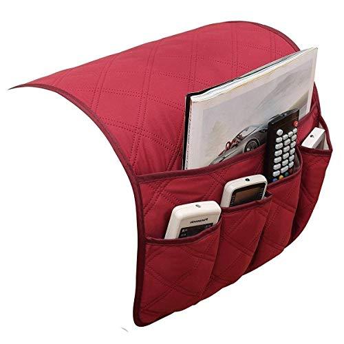 JINTN - Organizador para reposabrazos de sofá o sillón, con bolsillos para colocar el mando a distancia, el teléfono o libros y mantener todo organizado Rojo'