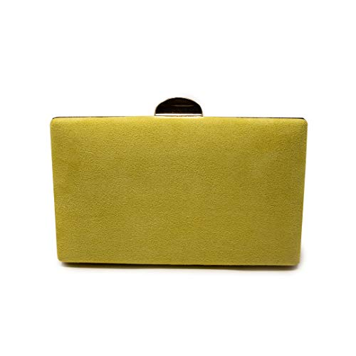 Euforia Modas - Bolso para fiesta elegante tipo clutch con correa (Amarillo)
