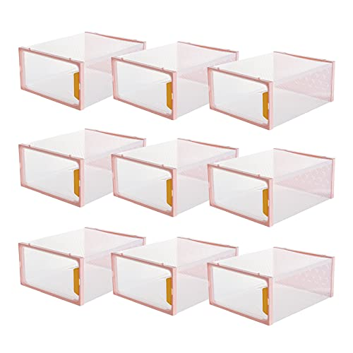 Paquete De 12 Cajas De Almacenamiento De Zapatos, Contenedores Organizadores De Zapatos Apilables De Plástico Transparente, Contenedores De Soporte Para Zapatos Con Apertura Frontal Tipo Cajón,Rosado