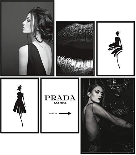 Papierschmiede® Premium Poster Set Fashion | 6 Bilder als stilvolle Wanddeko | 2X DIN A4 und 4X DIN A5 | Black and White Style Schwarz-Weiß