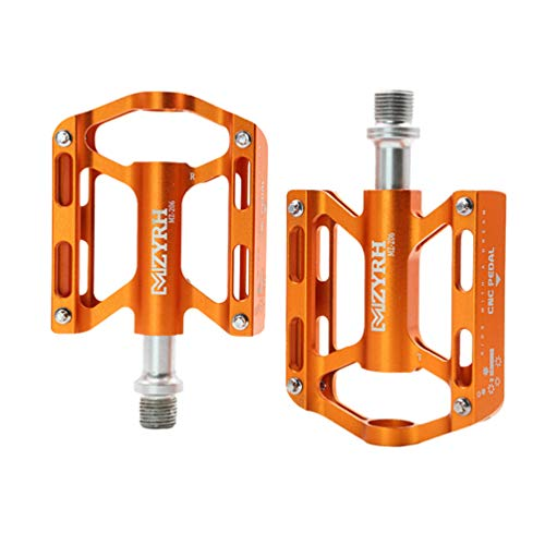 BESPORTBLE Bike Pedal Aluminium Alloy 3-Bearing Folding Mountain Bicycle Pedals Non-Slip Sealed Clipless Platform Flat Cycling Pedal for MTB Road Bicycle BMX (Orange)