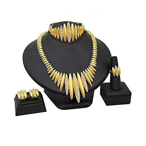 XiaoG Dubai 24k Juego de joyería Chapado en Oro Africano Etiopía Norma de Boda Bridal Pulsera Anillo Pendiente (Color : Gold)