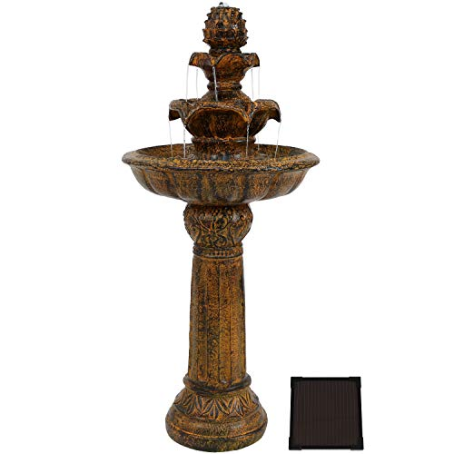 Sunnydaze Ornate Elegance Tiered Outdoor Solar Fountain with Battery Backup and LED Light - Outdoor Water Feature with Rechargeable Solar Battery - 42-Inch - Rustic Finish