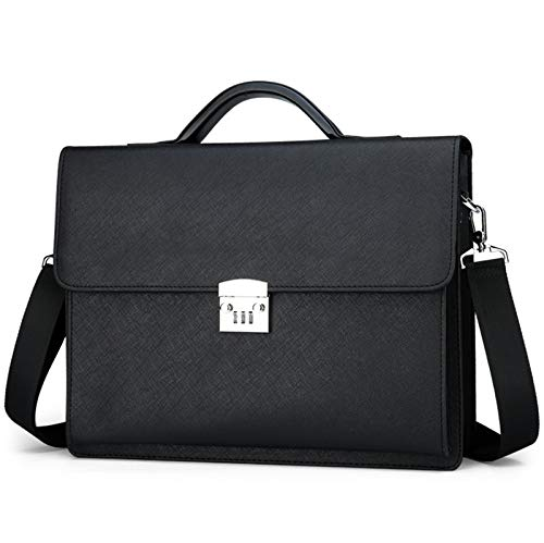 JMSL Briefcase Handbag Business Bags with Password,Travel Office Business, Water Resistant 15.6inch Laptop Messenger Bag for Men,Black and Brown,Black,large