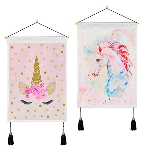 Uspring Pack of 2 Unicorn Tapestry Pink Unicorn Tapestries Fantasy Animal Tapestry Watercolor Print Tapestry Wall Hanging for Bedroom Living Room