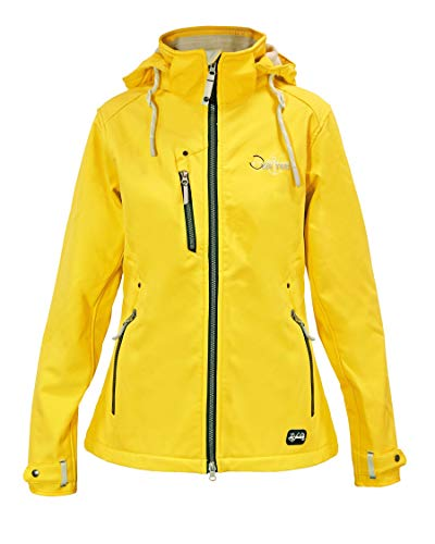 Dry Fashion Damen Softshelljacke Poel Funktionsjacke gefüttert, Farbe:gelb, Größe:50