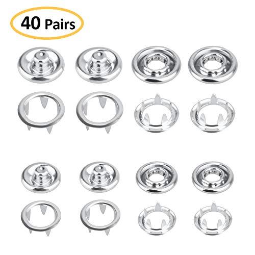 HIMETSUYA 40 Set Druckknöpfe Jersey 8 mm und 10mm Metall Ring Button Druckknöpfe Kleidung Snaps Taste für Baby Kinderbekleidung,Bekleidungs-Reparatur, Jacken, Jeans, Taschen, Riemen und Nähen Jobs