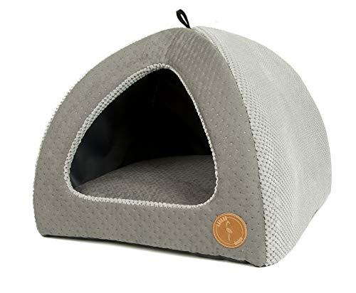 Z4L Lauren Design Hundehöhle | Katzenhöhle | Hundebett | Kuschelhöhle Hund Bella Grau gesteppt + Grau 50cm x 50cm