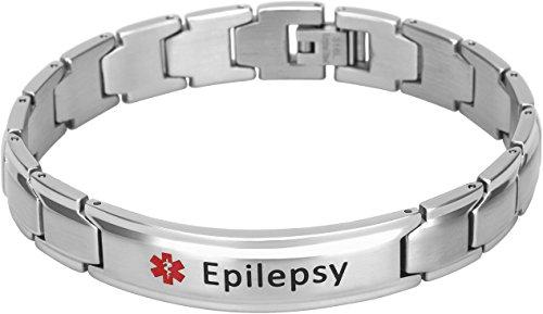Smarter LifeStyle Elegant Surgical Grade Steel Medical Alert ID Bracelet For Men and Women (Men's, Epilepsy)