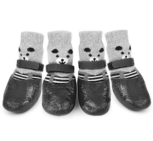 Idepet 4 PCS Haustier Hundesocken,wasserdichte rutschfeste Hundesocken Haustier Hund Pfotenschutz Fußabdeckung Hund Regen Schneeschuhe Socken