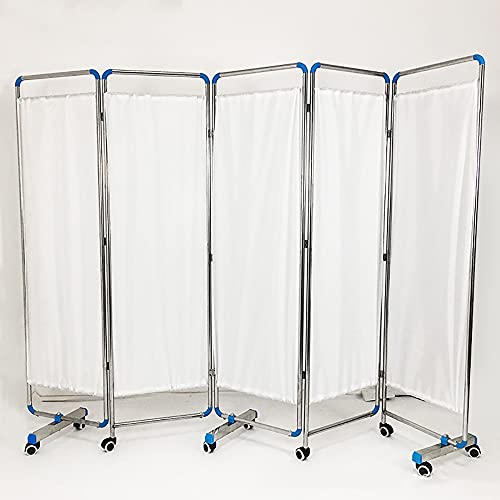 PYXZQW Foldable Medical Privacy Screen Curtain, Privacy Screen Surgery Screens for Hospital Clinic,5 fold