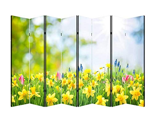 8 Panels Wall Divider Spring Easter Background Folding Canvas Privacy Partition Screen Room Divider Sound Proof Separator Freestanding Protective Divider
