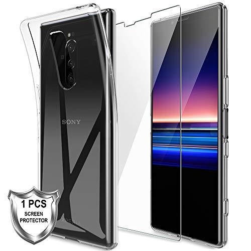 LK Hülle für Sony Xperia 1,Schlanker Weiche Flex Silikon TPU Schutzhülle Case Cover mit Panzerglas Folie[1 Stück] für Sony Xperia 1 - Transparent