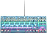 Blue Mechanical Keyboard, USB Wired, Compact 87 Key Computer Keyboard with Blue Switch and 12 Multimedia Keys for Windows PC Office Gamers, Pink White LED Backlit (Blue)