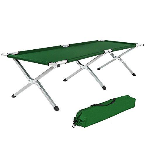 TecTake XL Alu Feldbett Campingbett belastbar bis 150 kg mit Transporttasche -Diverse Farben- (Grün)