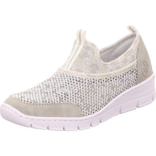 Rieker Damen Frühjahr/Sommer 565Q2 Sneaker, Grau (Cement/Weiss-Grau/Silverflower 40), 39 EU