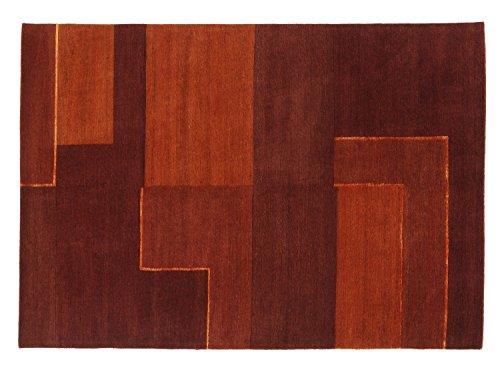 CONGRESS NEODYM echt origineel handgeknoopt Nepal tapijt in cognac, grootte: 70x140 cm 70x140 cm terracotta
