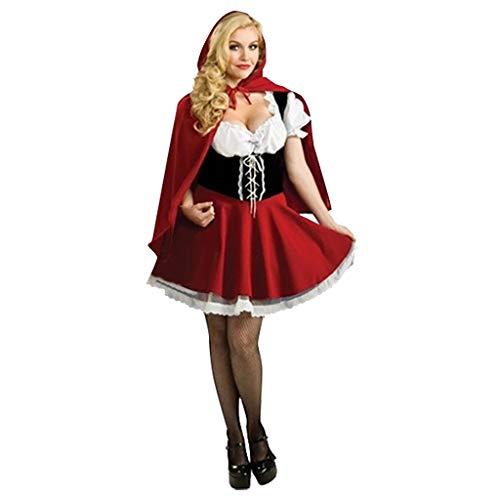 HWTOP Minikleid Damen Sexy Festlich Partykleid Dienstmädchen Outfit Weihnachten Halloween Cosplay Hexe Kostüm Rotkäppchen Kleid, Rot, XL