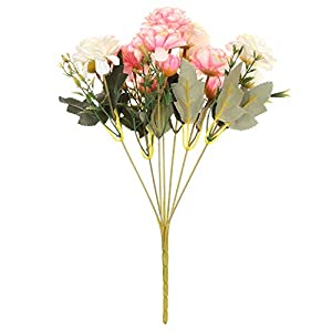 7 Forks Real Touch Blooming Wedding Decoration Handmade Artificial Flowers Silk Rhododendron Bridal Bouquet Fake Rose Peony