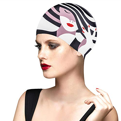 BALNEAIRE Silicone Swim Cap for Women, Waterproof UV Protection Long Hair Swimming Caps
