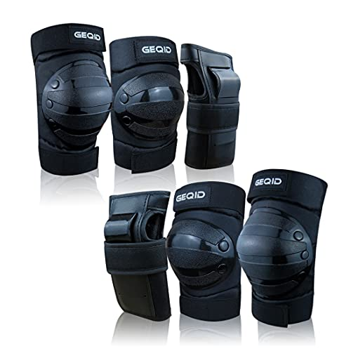 GEQID adult Youth or Kids Knee Pads Elbow Pads Wrist Guards Protective Gear set for Skateboards Inline Roller Skating Skates Scooters men or women (Black, Large (Adult))