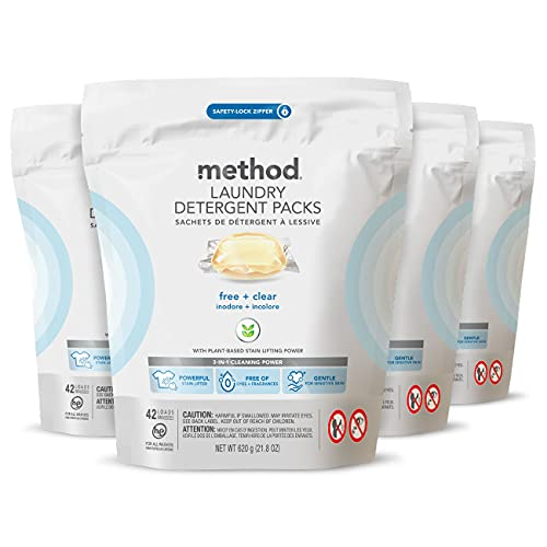 Method Laundry Detergent Packs, Free + Clear, 24.7 Ounce (Pack of 4)