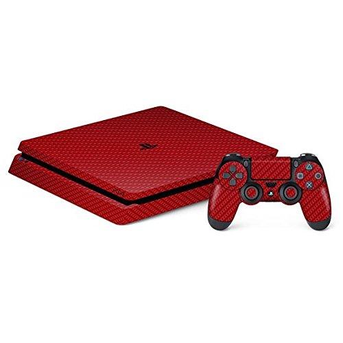 Skin Premium - Adesivo Fibra de Carbono, Vermelho, Sony Playstation 4 Slim