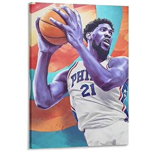 Profesional-Jugador de baloncesto-Centro-Joel-Embiid Póster Pintura decorativa Lienzo Arte de la pared Carteles de la sala de estar Pintura del dormitorio -50x75cm Sin marco