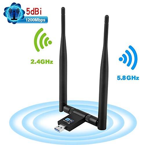 DEEPOW Adattatore Antenna USB WiFi 1200Mpbs USB 3.0 Chiavetta WiFi con 2 5dBi Antenne Dual Band (5.8G/867Mbps+2.4G/300Mbps), Ricevitore WiFi per PC/Laptop, e per Windows/Vista/Mac