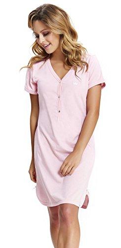 dn-nightwear, camicia da notte da donna, 100% cotone Colore: rosa. S