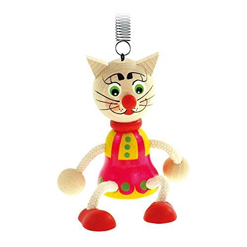 Bino & Mertens 90908 - Springfigur bunte Katze aus Holz. Lustiger, bunter Hüpfer mit Feder. An der Decke, über dem Kinderbettchen oder Wickeltisch sorgt dieser für Aufmerksamkeit. Größe ca. 10x5x19 cm