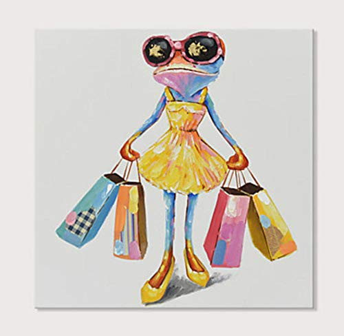 Dipinto Ad Olio Dipinto A Mano Su Tela,Frog Llevar Una Bolsa De Compras, Vintage Abstracto Contemporáneo De Gran Tamaño Animal Print, Ideal Para El Hogar, Oficina Doméstica Fur Bar, Cafe, Añadir A