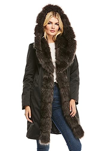 Caviar Faux Fur-Trimmed Wanderlust Storm Coat (L) (Caviar)